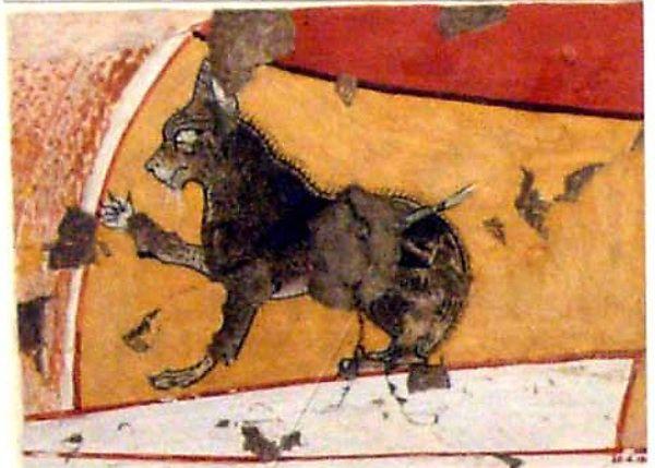 Norman de Garis Davies (1865–1941). Kitten on Ipuy's Lap, Tomb of Ipuy from New Kingdom, Ramesside, reign of Ramesses II, ca. 1295–1213 B.C.. The Metropolitan Museum of Art, New York. Rogers Fund, 1930 (30.4.184) #cats