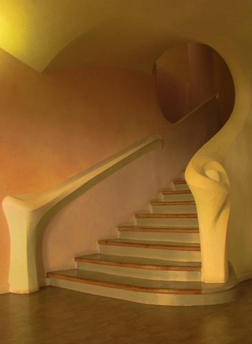 "Staircase in the Rudolf Steiner House (35 Park Road NW1) - the only example of ""expressionist"" architecture in London"