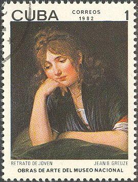 "Znaczek: Jean-Baptiste Greuze. ""Portrait of Young Woman"" (Kuba) (Paintings from the National museum) Mi:CU 2659,Yt:CU 2362"