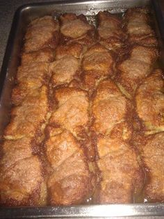 A 5-star recipe for Peach Enchiladas made with refrigerated crescent rolls, butter, peaches, sugar, cinnamon, Mountain Dew or