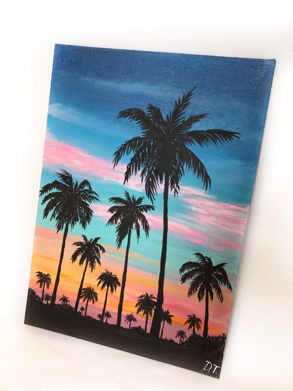 Palm Trees Sunset Acrylic On Canvas 35x24cm Tree Painting