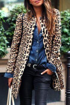 Chic Women's Jewel Neck Leopard Long Sleeve Coat