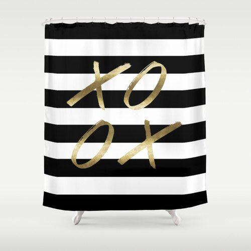Black and White Stripe Shower XOXO Gold shower Curtain Bathroom Shower Curtain Striped Bathroom Decor Girls Shower Curtain Bold Stripe by HuntleighCo on Etsy https://www.etsy.com/listing/259687452/black-and-white-stripe-shower-xoxo-gold