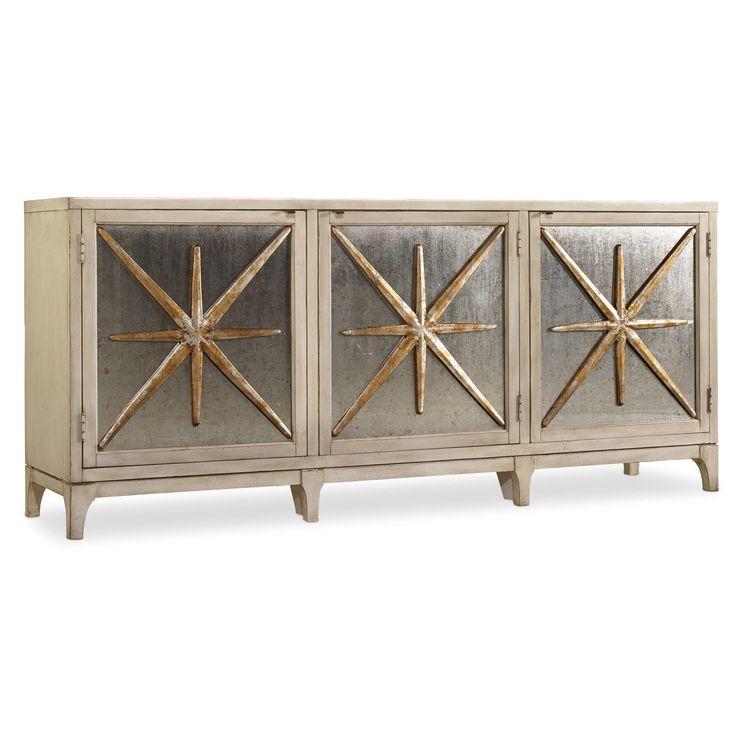 Superior Hooker Furniture 638 85163 Melange Star Power Console In White/Cream/Beige