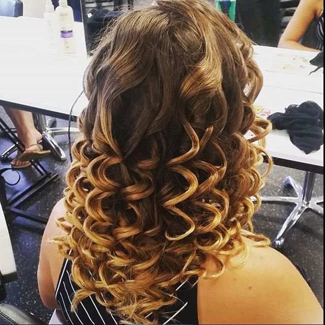 Set in pin curls after barrel curled with the wand, by Zoe