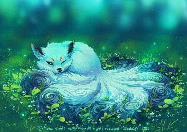 A Sleeping Kitsune - Kitsune in 2020 | Cute fantasy creatures, Mythical  creatures art, Fantasy creatures
