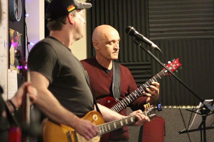 """Dread Not rehearsal as Timmy Jay watches Chris B """"plays something incredible on guitar!!"""" Photo used by permission."""