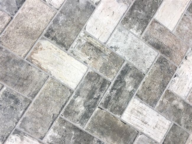 gray brick look 4x8 porcelain tile wall