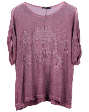 Italian Skull Knit Boxy Top Plum
