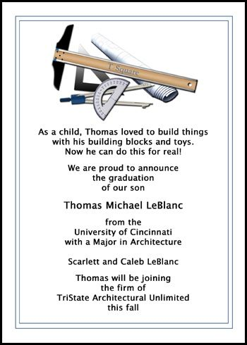 customizing your unique architect graduation announcements and architecture graduation invitations for architectural graduating commencement ceremony at InvitationsByU has never been easier