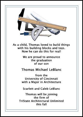 Architectural Ceremony Invitations For Architect School
