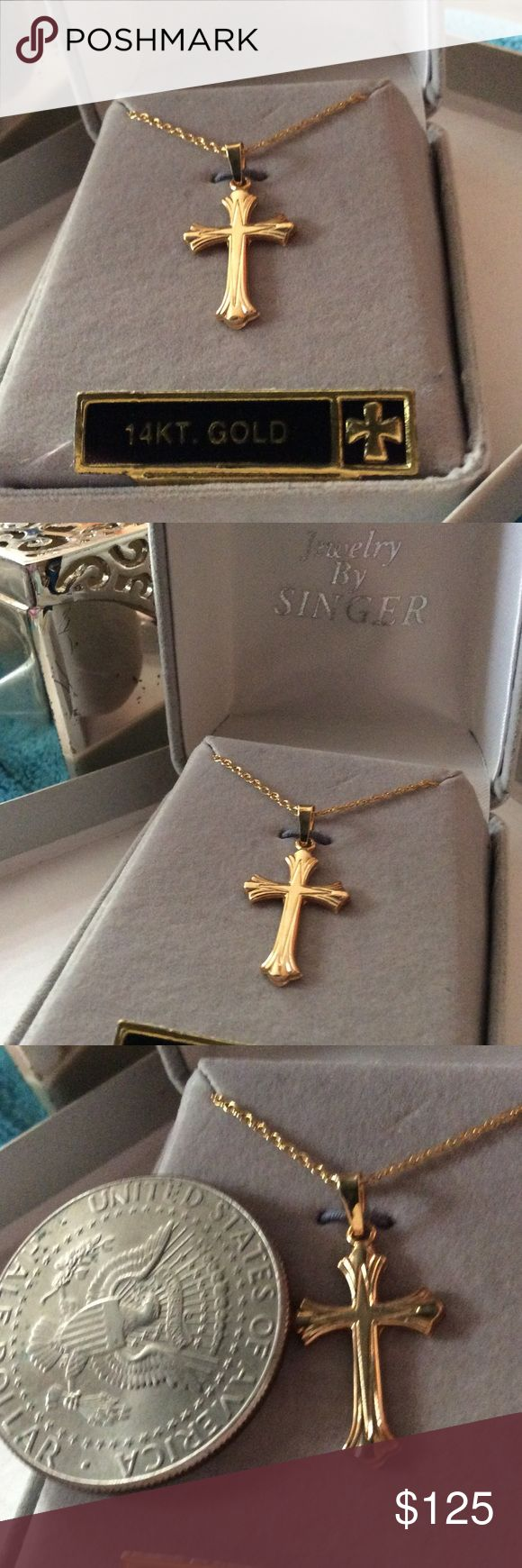 Jewelry by Singer 14 Karat gold chain and cross.🎁 I have this set in gold 14 k, brand new on box For Sale great present🎁🎁🎁🎁🎁🎉💥🎉💥🎄🎄🎄I send it with the box.brand new.And cross chain. singer Jewelry Necklaces