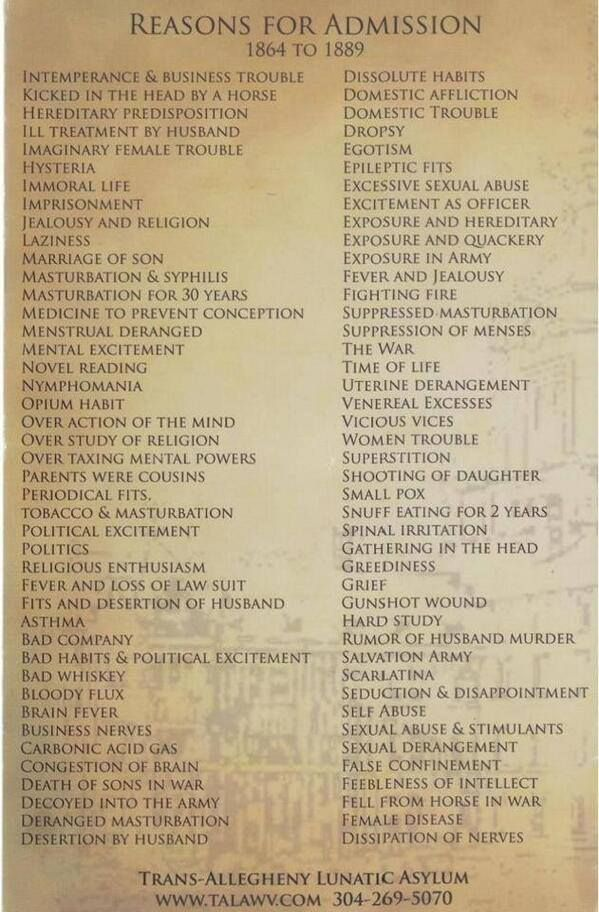 Reasons for admission to a lunatic asylum 1864-1899. struggling to choose a favourite...
