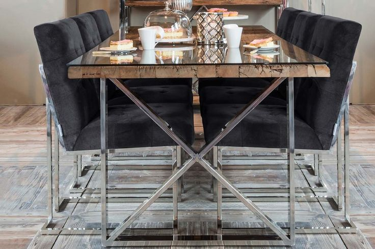 Luxe Madison Chrome Grey Upholstered Dining Chairs and Table