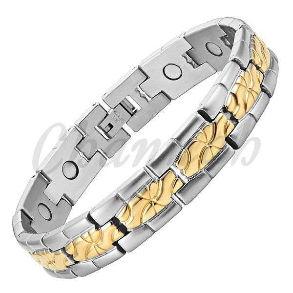 Find More Chain & Link Bracelets Information about 2015 Men Stainless Steel Magnetic Bracelet 18K Gold 2 Tone Ionic Plating Fast Hong Kong Post Free Shipping Jewelry Bangle,High Quality jewelry stand bracelet,China bracelet iphone Suppliers, Cheap jewelry bracelet from Channah Store on Aliexpress.com