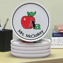Personalized School Teacher Icons 4 Piece Ceramic Coaster Set