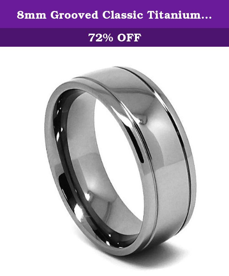 Trending mm Grooved Classic Titanium Mens Wedding Ring Size Titanium jewelry is high