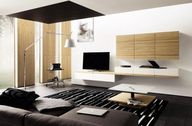 Decoration - Creative Minimal Design Media Center With Six Wall Cabinet And Modern Standing Lamp: Wood Wall Panels Unit Combinations Design ...