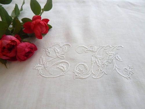 Винтажный льняной французская кровать лист с вышивкой | eBay