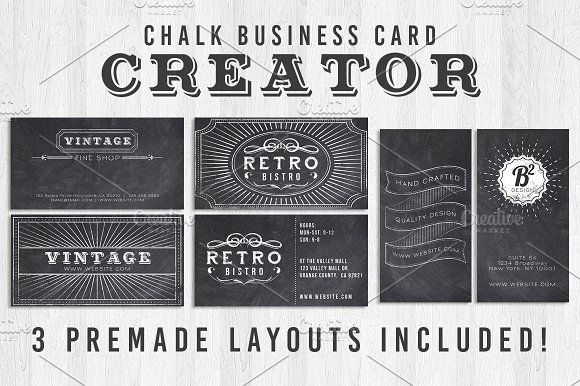 Chalk Business Card Creator by Lucion Creative on @creativemarket