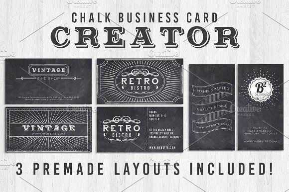 Chalk Business Card Creator by Lucion Creative on @creativemarket