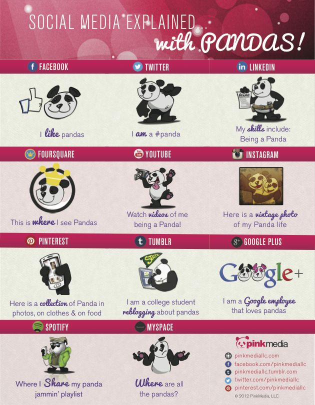 Social Media explained with Pandas! #infographic
