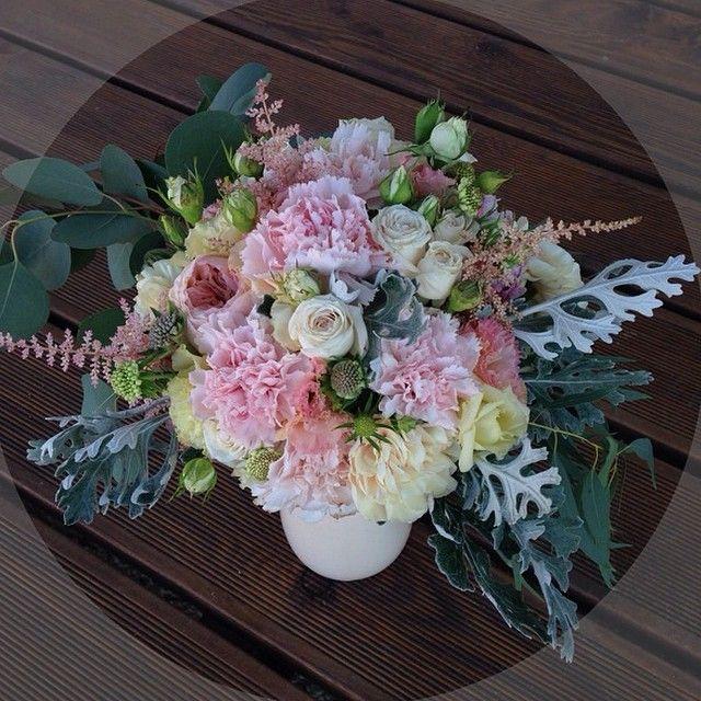 Birthday bouquet / David Ostin roses / carnation / peony / eucalyptus /peony white roses / anemone