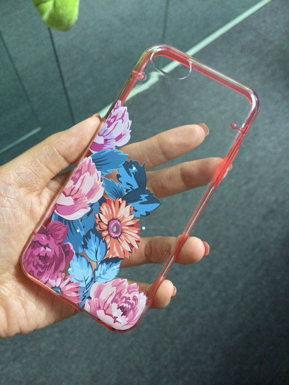 iPhone 5C case, iPhone 5S 5 case, Transparent cover, Vintage flower rose, floral clear bumper hard plastic case (E17), FREE screen protector...