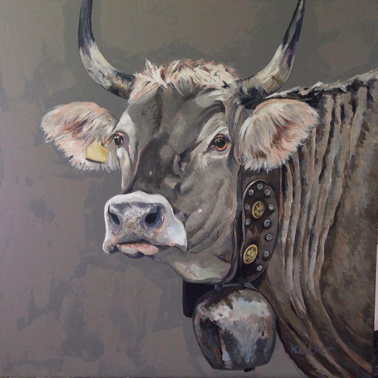 Bündner Kuh 80x80cm Kühe Malen Kuh Zeichnen Kuh Zeichnung