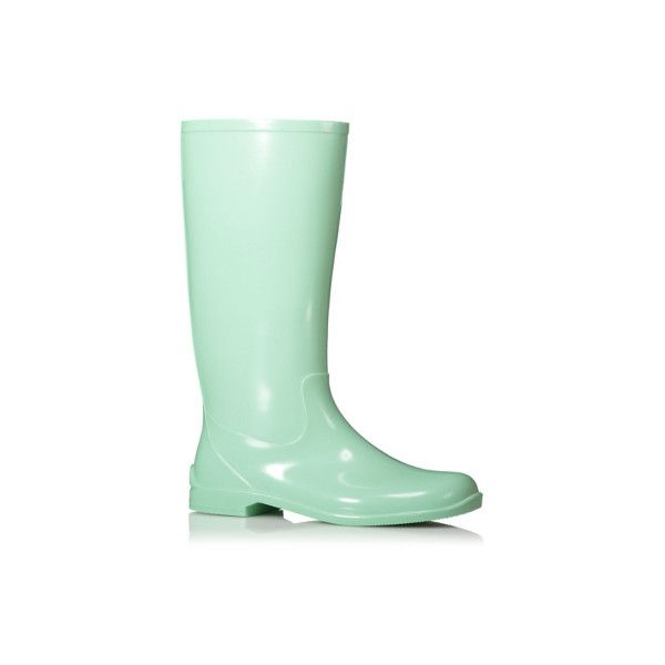 George Pastel Wellington Boots ($21) ❤ liked on Polyvore featuring shoes, boots, mint, lined boots, rain boots, george shoes, mint rain boots and mint green rain boots
