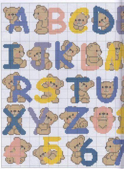 Oh my Alfabetos!: Alfabeto con lindos ositos para punto de cruz.