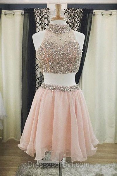 Two Piece Homecoming Dresses, Beading Prom Dresses, Pink Party Dresses, Cute Cocktail Dress, Casual Summer Dresses For Teens