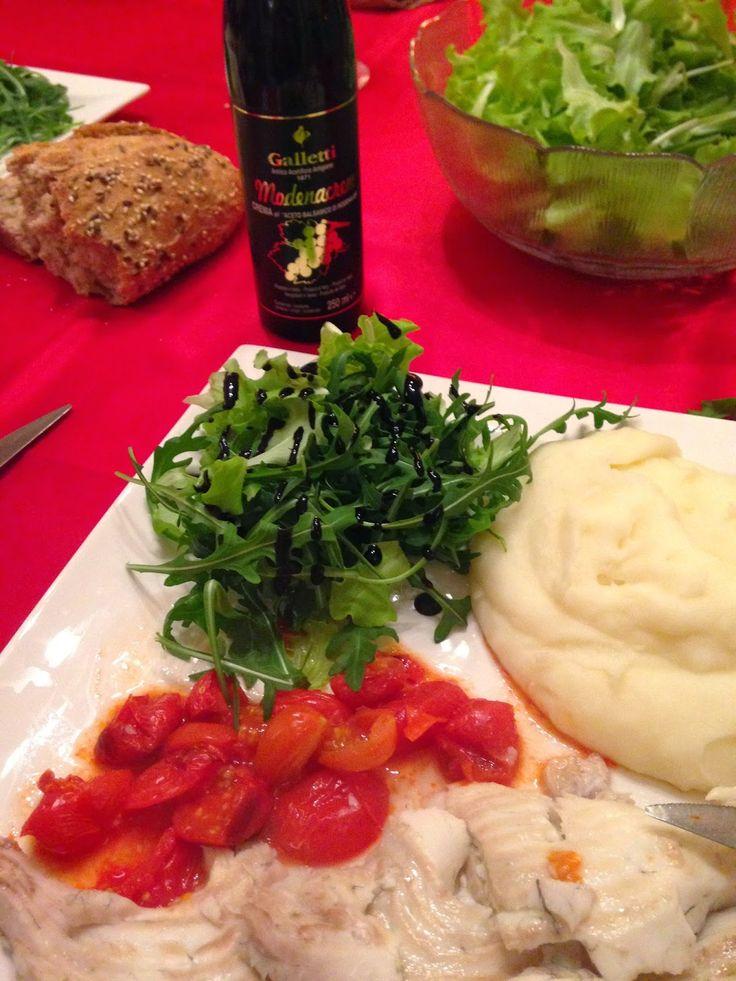⇒ Bimby, le nostre Ricette - Con e Senza Bimby, Rombo al Forno con Pomodorini, Rucola e Purè