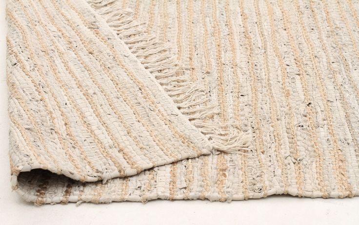 Hand-woven White Leather & Jute Rug - Rug Emporium - 4