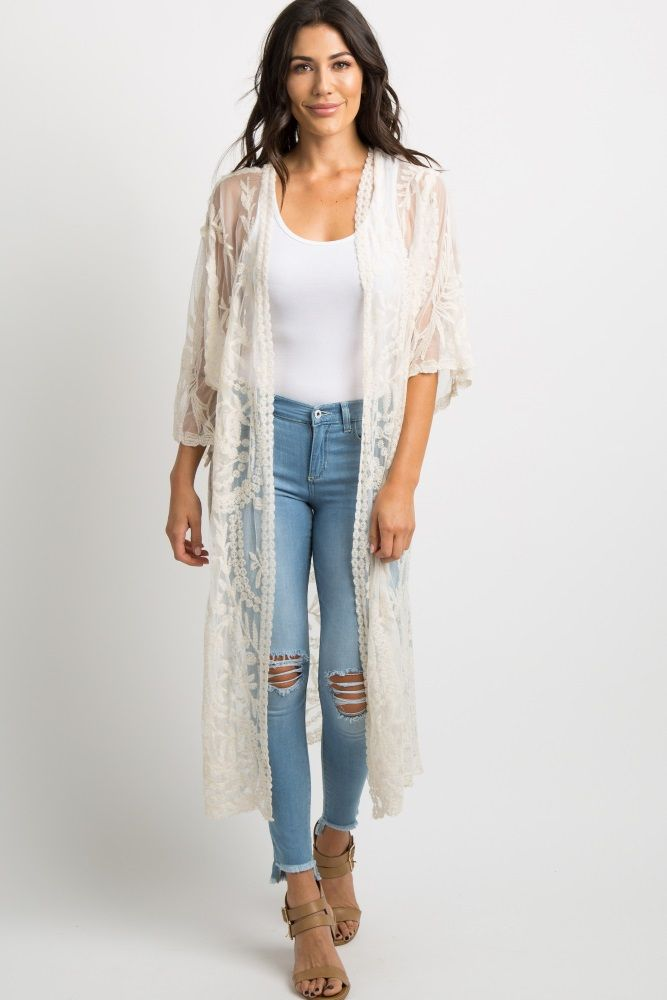 668507c80b5 Ivory Crochet Mesh Long Kimono in 2019   Fashion Forward   Lace ...