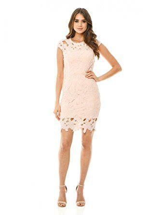 Pink Capped Crochet Short Sleeve Zip Back Dress