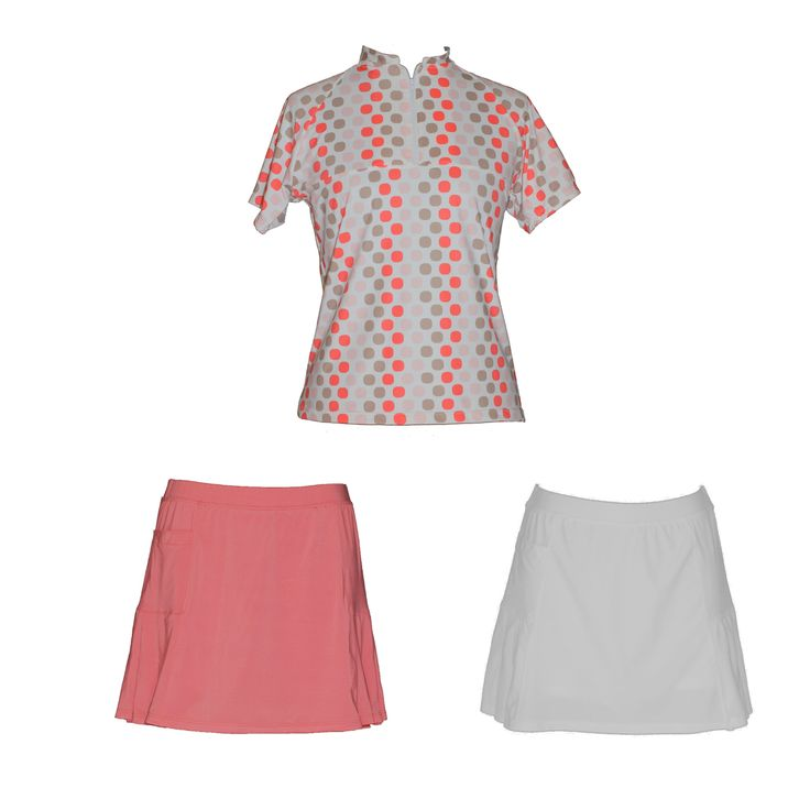 Spring Set : Sassy Coral Print, $78.00 (http://www.ladygolfwear.com.au/spring-set-sassy-coral-print/) Ladies golf top with matching skort; either coral or white.