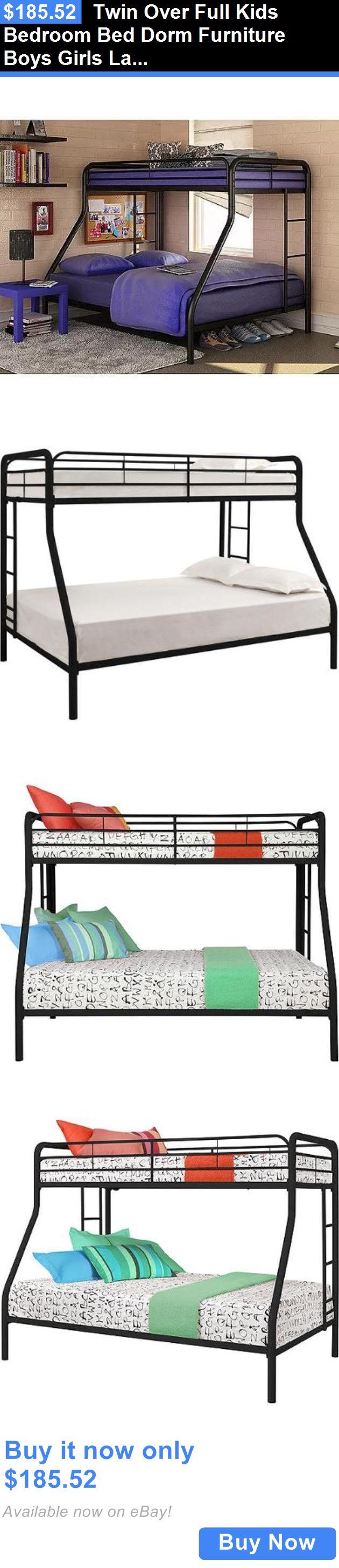 Kids Furniture: Twin Over Full Kids Bedroom Bed Dorm Furniture Boys Girls Ladder Metal Bunk Beds BUY IT NOW ONLY: $185.52