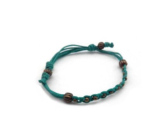 Bracelet turquoise à nœud coulant