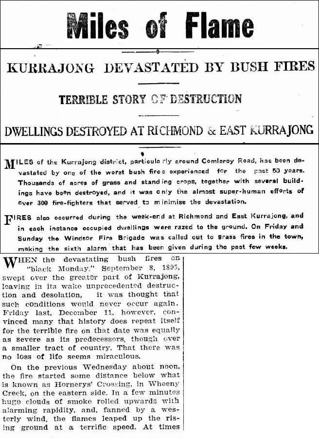Bushfires in Kurrajong - Windsor and Richmond Gazette 17 December 1926, page 3