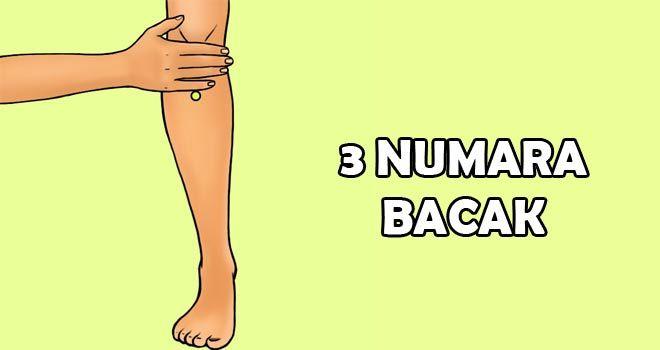 3 Numara Bacak: Bu nokta Akapunktur yönteminde çok kullanılan noktalardan birisidir. Zu San Li noktası olarak da bilinen bu nokta diz kapağının 4 parmak altında biraz bacak dışında kalan noktadır. Günde 9 kere bu noktaya 5 dakika süre ile bastırmak sindirim sistemini hızlandırır ve miğdenin sağlıklı bir şekilde çalışmasını destekler. Yatmadan önce yapılması tavsiye edilmez.