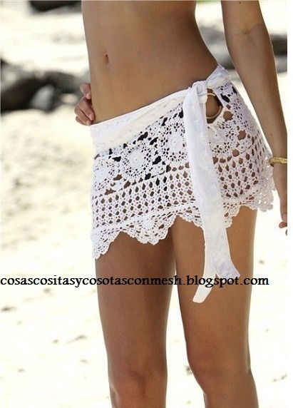 so adorable...   use a doily runner + a ribbon tie waistband and voila! a cute bottom  cover up!