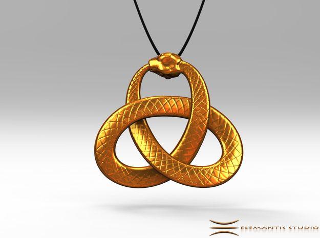 Ouroboros Triquetra Pendant 3.5cm in Raw Brass