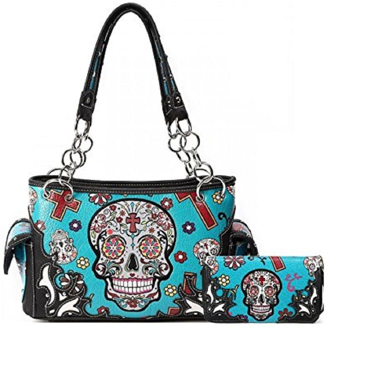 Turquoise Oaxacan Style Sugar Skull Concealed Carry Purse W Matching Wallet