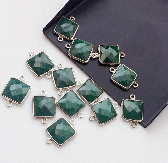 Green Corundum Connectors 5 Pcs Green Corundum by gemsforjewels