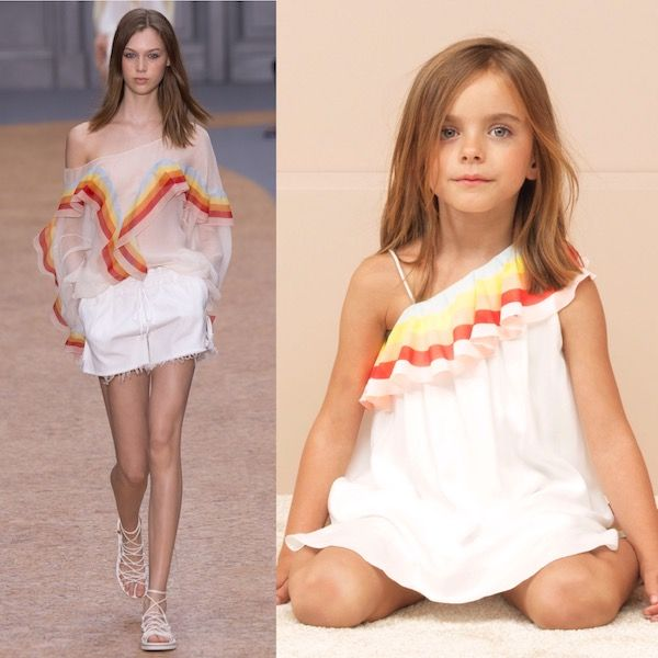 Shop CHLOÉ Girls Mini ME White Viscose & Red & Yellow Organza Ruffle Dress. Special Occasion Dress from Chloe Women's Spring 2016 at Paris Fashion Week.