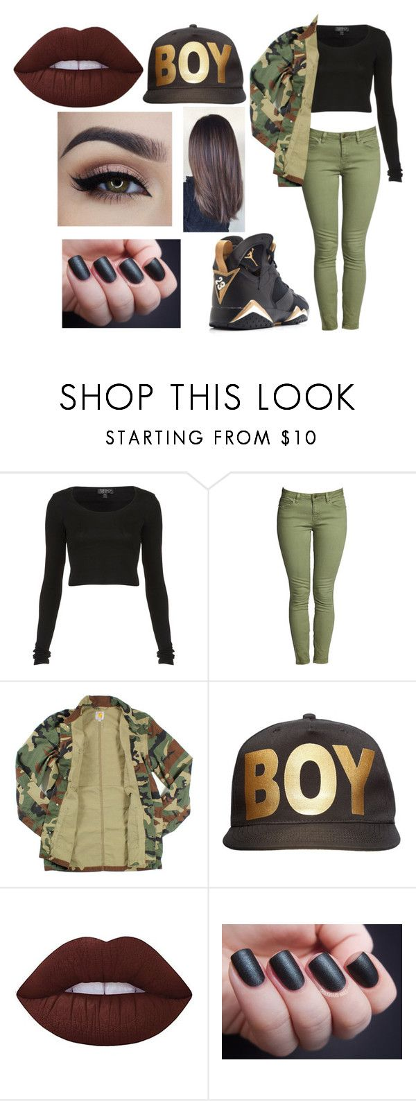 """Untitled #2348"" by hey-mate ❤ liked on Polyvore featuring Topshop, Carhartt, BOY London, Lime Crime and Life's a Beach"