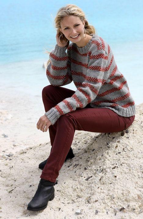 Sweater med striber - Hendes Verden
