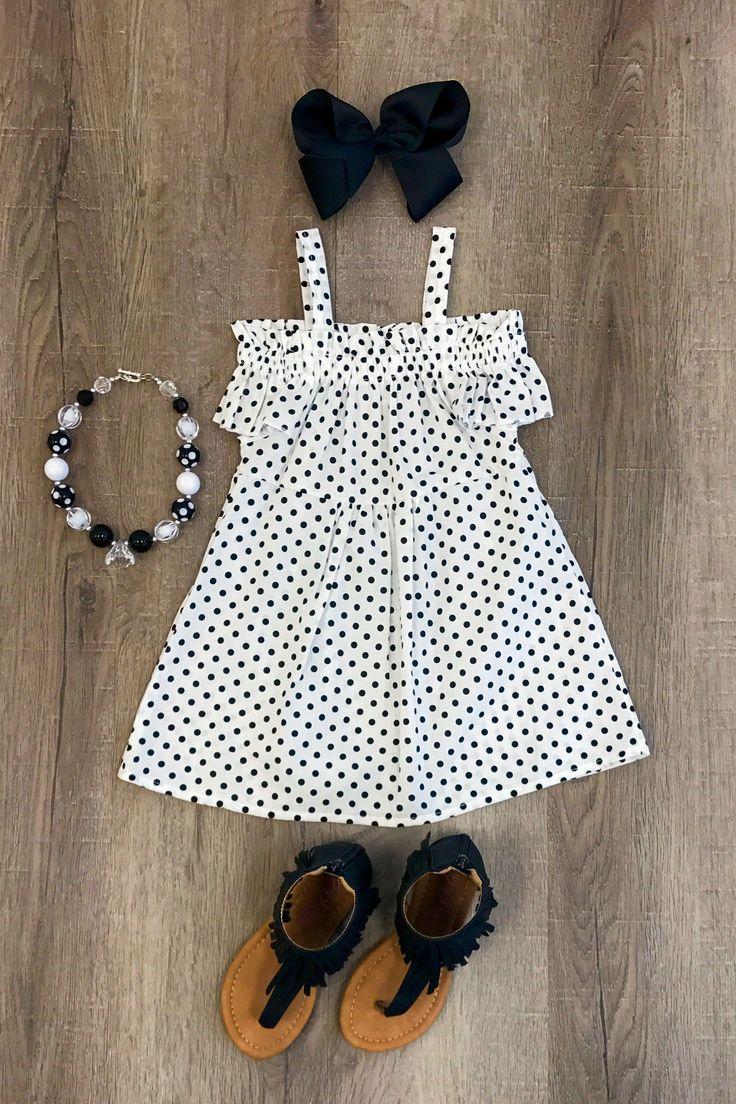 White with Black Polka Dot Off-Shoulder Dress