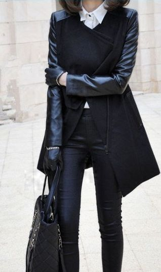 Black coat w/ leather sleeves, white oxford, and black leather skinny pants.